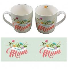 A pretty 'Worlds Best Mum' mug with matching gift box.