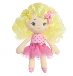 Enjoy hours of fun with this plush Cutie Curls rag doll with brightly coloured hair and a fine quality polka dot outfit.