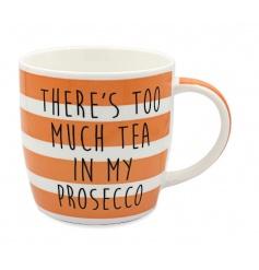 Gift boxed china mug with funny prosecco saying
