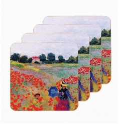 A set of 4 art print coasters featuring the popular Poppy Field image by Monet.