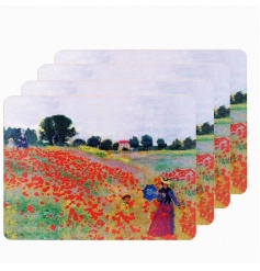 A set of 4 fine quality placemats with the popular Poppy Fields design by Monet.