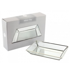 A chic glass tray with silver trim. Ideal for displaying trinkets and jewellery and for decorative use.