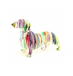 Make a statement with this stylish and colourful art dash hound figure.