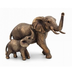 A fine quality elephant figure with calf. From the popular Bronzed Reflections range.