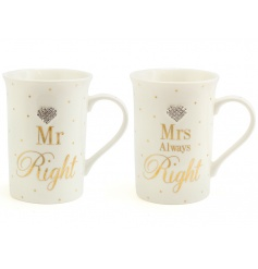 A set of 2 boxed mugs from the popular Mad Dots range. The set includes Mr Right and Mrs Right Designs.