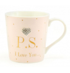 A fine quality mug in the popular Mad Dots design. Complete with a P.S I Love You slogan and heart gem.