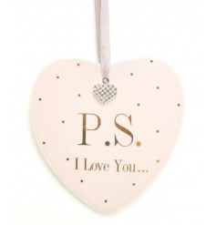 A pretty ceramic heart shaped plaque with a gem heart and P.S I Love You Slogan. A wonderful sentiment gift.