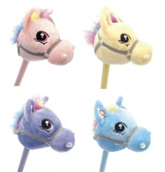 An assortment of 4 plush coloured hobby horses with trotting noise when movement is made.