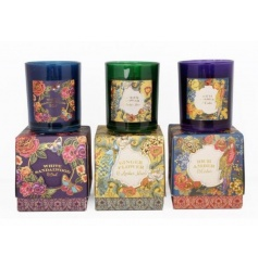 Beautifully packaged and fragranced glass candle pots in tropical Victorian designs.