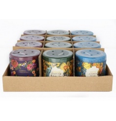An assortment of 3 richly coloured and beautifully scented candles with a Victorian floral wrap.