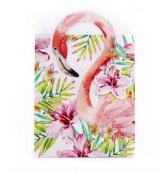 A bright and tropical flamingo design gift bag with a unique handle.