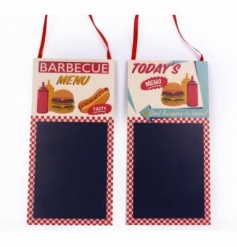 An assortment of 2 retro style memo boards in BBQ and menu designs.