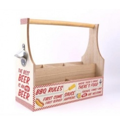 A retro style drinks and condiment crate with carry handle and bottle opener.