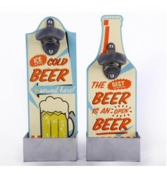 An assortment of 2 retro style beer bottle shaped bottle openers with tray to catch the bottle tops.
