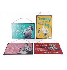 An assortment of 4 colourful and humorous metal wall plaques with cat, dog and friendship slogans.