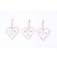 3 assorted designs of double heart plaques