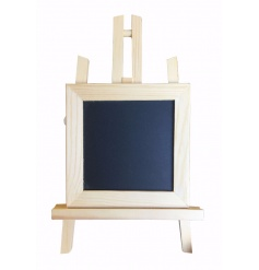 A wooden chalkboard easel perfect for displays, events and memos. A fun and unique memo board!