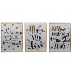 A mix of 3 stunning gold foil slogan wall plaques, each with a gold frame.