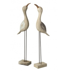 A mix of two charming natural wooden bird decorations.