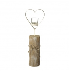 A rustic style t-light holder with a cream shabby chic heart. Finished with a jute string bow.