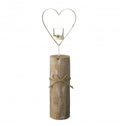 A shabby chic style wooden t-light holder with a metal heart.