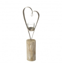 A rustic style wooden and metal t-light holder with a distressed grey heart.