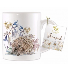 A beautiful china mug with a whimsical hedgehog design by Claire Louise.