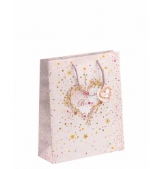 A gorgeous baby girl gift bag with a pretty heart design with embossed detailing and matching gift tag.