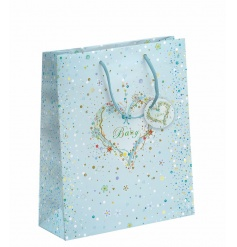 A fine quality baby boy gift bag with embossed details and a pretty floral heart design.