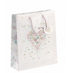 A beautiful fine quality gift bag with an embossed heart design featuring love birds and hearts.