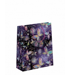 A fine quality purple gift bag with a stunning butterfly design.