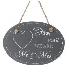 Count down the days until you're Mr & Mrs with this stylish slate plaque with rope hanger.