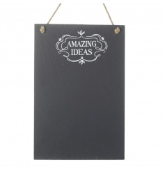 Note down all of your amazing ideas with this chalkboard memo board with jute hanger.