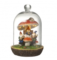 An enchanting gnome and mushroom scene set within a dome with led lights. A unique decoration for the home or garden.