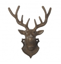 A stylish cast iron deer hook and decorative accessory.