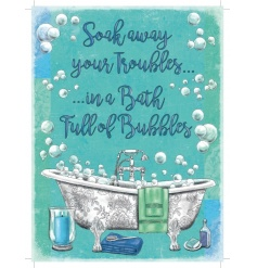 A stylish bubble bath metal sign with jute string to hang. A charming decorative item for the home.