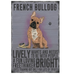 A mini metal sign with a French Bulldog illustration with characteristics listed.
