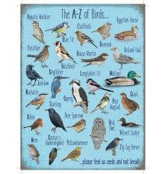 A stylish A to Z of birds metal sign with beautiful illustrations. Comes with jute string to hang.