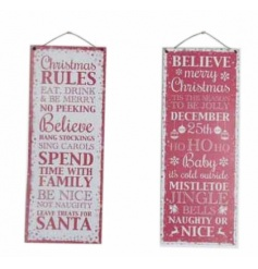 A mix of 2 red and white metal signs, each with Christmas rules.