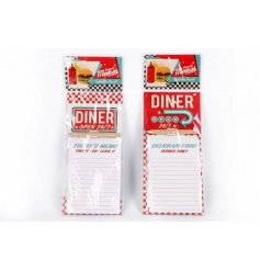 An assortment of 2 retro style magnetic memo boards in an American diner design.