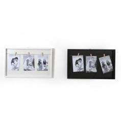 A mix of 2 black and white triple peg photo frames.