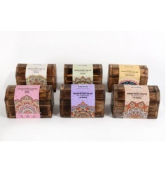 An assortment of 6 wooden boxes encases 10 scented incense cones in a mix of fragrances.