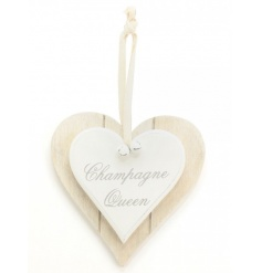 A double heart plaque with 'champagne queen' slogan. Complete with cotton hanger and bells.
