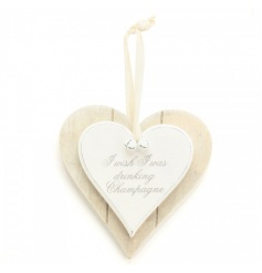 I wish I was drinking Champagne. A shabby chic style double heart plaque with cotton hanger and bells.