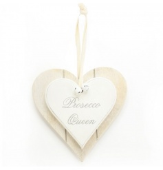 A shabby chic style double heart plaque with a 'prosecco queen' slogan. Complete with bells and cotton ribbon to hang.