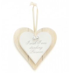 I wish I was drinking Prosecco. A shabby chic style double heart plaque with white bells and ribbon to hang.
