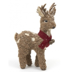 A charming woodland style reindeer with a red scarf complete with gold festive bells.