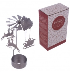 Add some sparkle and shine to the home this season with this Santa and reindeer t-light spinner.