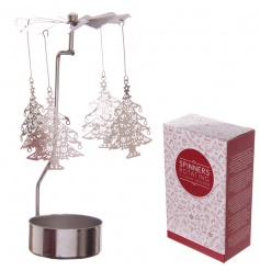 Add some sparkle and shine to the home this season with this Christmas tree design t-light spinner.