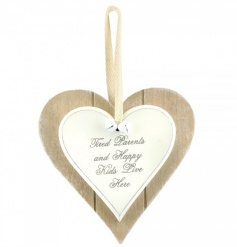 A shabby chic double heart plaque with a humorous 'tired parents and happy kids live here' sentiment.